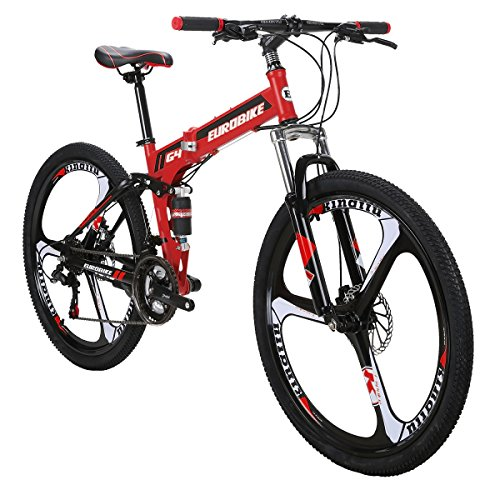 Eurobike Mountain Bike TSM G4 Bicycle 21 Speed 26 Inches Wheels Dual Suspension Folding Bike