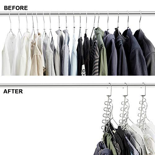 MeetU Magic Cloth Hanger Wonder Space Saving Hangers Metal Closet Organizer for Closet Wardrobe Closet Organization Closet System (Pack of 4)