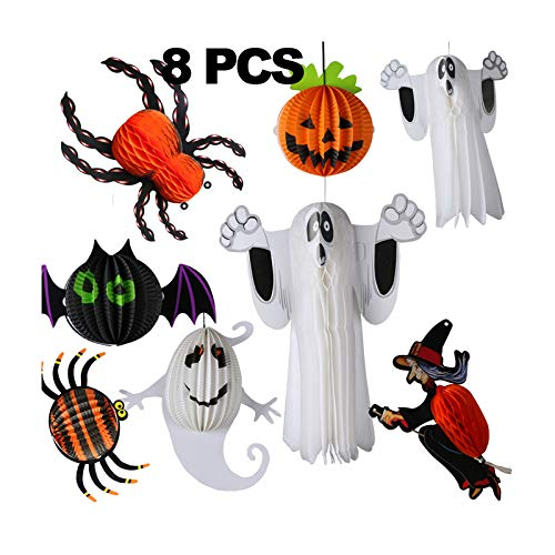 CASACLAUSI Halloween Decoration Stereoscopic Paper Flower Party Supplies Birthday Trick Room Decoration Ghost Witch Pumpkin Bat Spider Web Wall Decor Pack of 8 ()