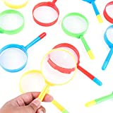 Super Z Outlet Mini 5' Magnifying Glasses with Pens Tip Combo, Plastic Pocket Children Detective Explorer Note Taking Colorful Party Favors (12 Pack)