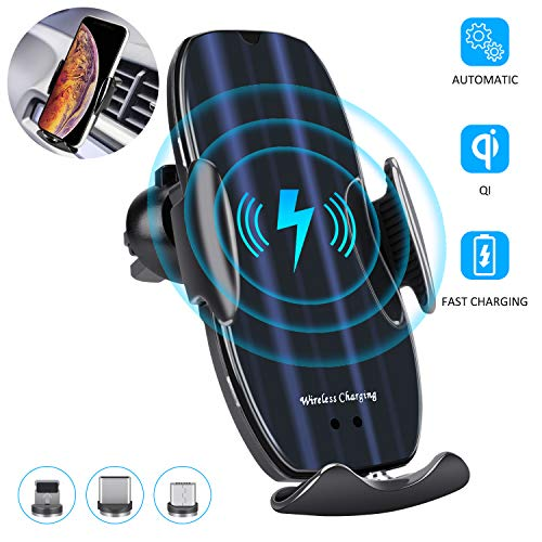 Wireless Car Charger, 10W Auto-Clamping Qi Fast Charging Car Mount Charger Air Vent Phone Holder for iPhone 12/12 Pro/SE…
