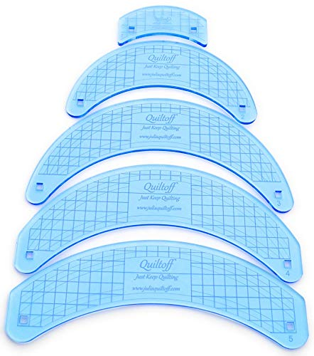 Collection of Curved Longarm Quilting rulers, 5 Pieces (Blue)