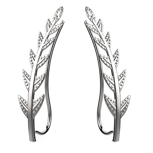 Feramox Ear Crawler Cuff Earrings Sterling Silver Ear Climber Studs Olive Leaf Hypoallergenic
