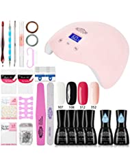 Perfect Summer Gel Nail Polish Starter Kit - 4 Colors Gel Polish Set Base Top Coat 24W LED Nail Dryer Lamp with Home Gel Manicure Nail Tools 8ML #2