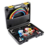 4 Way AC Diagnostic Manifold Gauge Set for R410, R22, R134a Refrigerants, Freon Charging and Vacuum Pump Evacuation with 5FT Hose, 3 ACME Tank Adapters, Adjustable Couplers and Can Tap