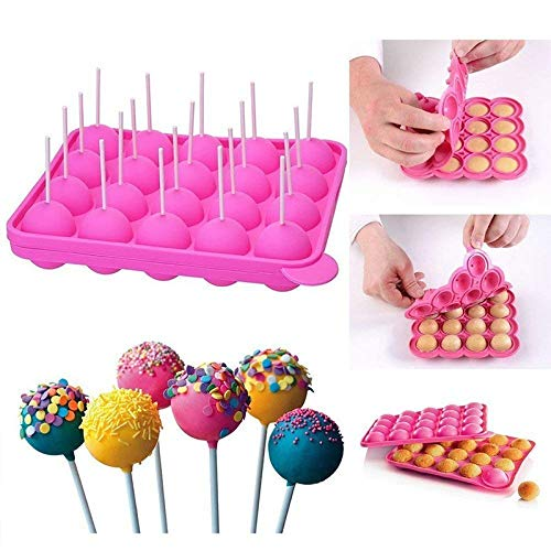 Cookie Cutter|Cake Molds|20 Hole Silicone Tray Pop Cake Stick Mould Lollipop Party Cupcake Baking Mold Ice Cream Sphere Maker Chocolate Mold|By REDDEATH by REDDEATH (Image #2)