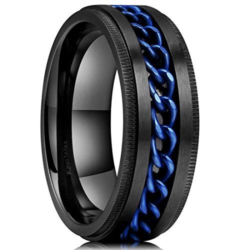 (King Will Intertwine Stainless Steel 8mm Rings for Men Center Chain Spinner Ring 8)