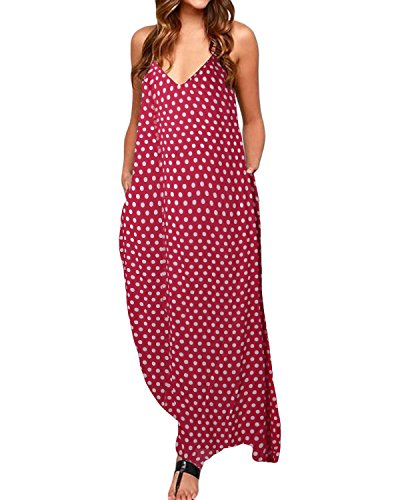 (ZANZEA Womens Polka Dot Maxi Dress Casual Summer Sundress Long Boho Beach Dress Plus Size 01 Red US 12)