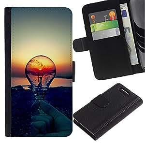 Sony Xperia Z1 Compact / Z1 Mini / D5503 , la tarjeta de Crédito Slots PU Funda de cuero Monedero caso cubierta de piel ( Sunset Idea Light Bulb Clever Idea)