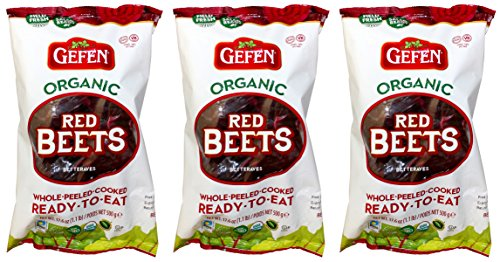 Gefen Organic Red Beets, Whole, Peeled, Cooked & Ready to Eat, 1.1lb (3 Pack)