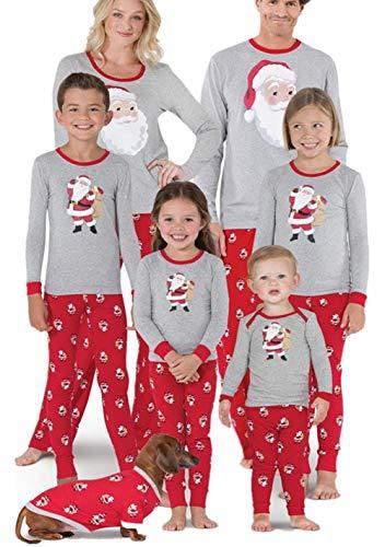 Family Matching 2 PC Tops Trousers Christmas Pajamas Sets Santa Claus Print Long Sleeve T-Shirt Long Pants Homewear (Gray+Red, Dad/M)