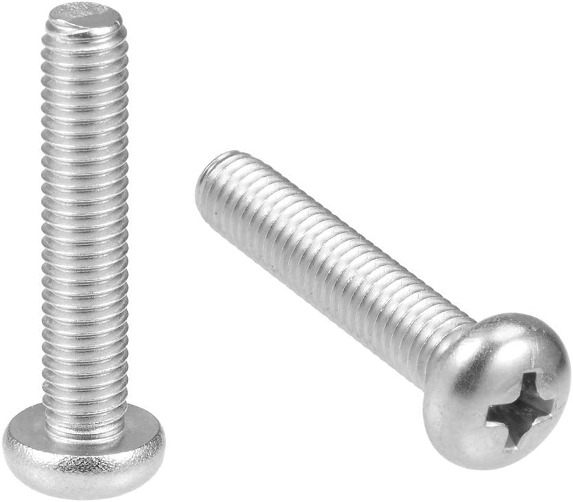 uxcell M2.5x10mm Machine Screws Pan Phillips Cross Head Screw 304 Stainless Steel Fasteners Bolts 30Pcs