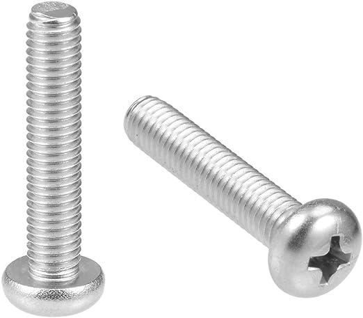uxcell M5x35mm Machine Screws Phillips Cross Pan Head Screw 304 Stainless Steel Fasteners Bolts 10Pcs