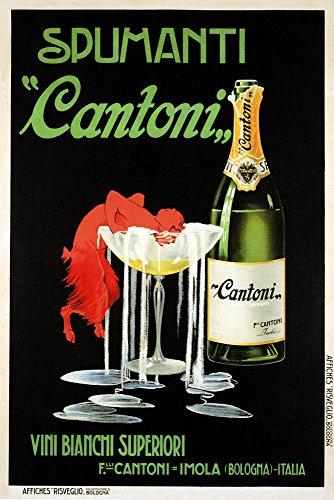 (Spumanti Sparkling Campagne Wine Cantoni Red Devil Bologna City Drink Italy Italia Italian Vintage Poster Repro (12
