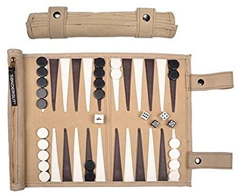 Amazon Com Sondergut Roll Up Suede Backgammon Game Cream Toys Games