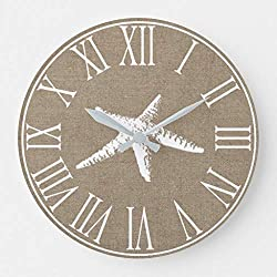 Moonluna Coastal Elegant Faux Burlap White Starfish 10 inches Silent Wooden Wall Clock Home Decoration for Home Living Room Office