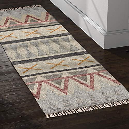 (Rivet Southwestern Geometric Wool Runner Rug, 2' 6
