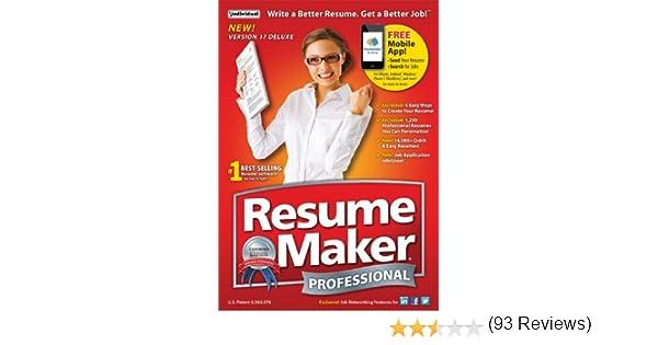 Amazon.com: ResumeMaker Professional Deluxe 17 [Download]: Software