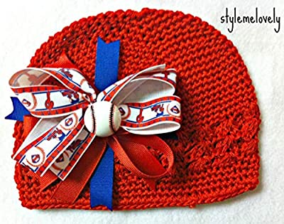 Philadelphia Phillies Boutique Bow Crocheted Kufi Hat, Newborn- Adult Sizes