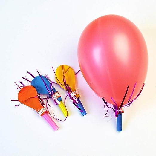 FINIVE fibUNIve 50pcs Fischietto Palloncino colorato con Ventilatore Bambini Accessori per Feste Natalizie di Halloween Colore Casuale