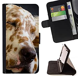 Momo Phone Case / Flip Funda de Cuero Case Cover - Gran Danés Spots perro canino Mascota; - HTC DESIRE 816
