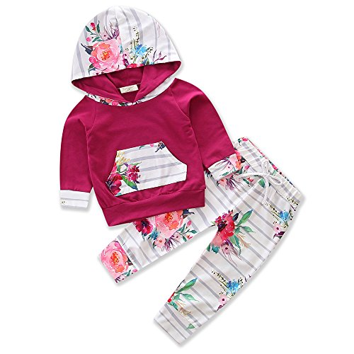 Baby Girls Hooded Clothing Pocket Printed T-Shirt Top With Floral Long Pants Clothes