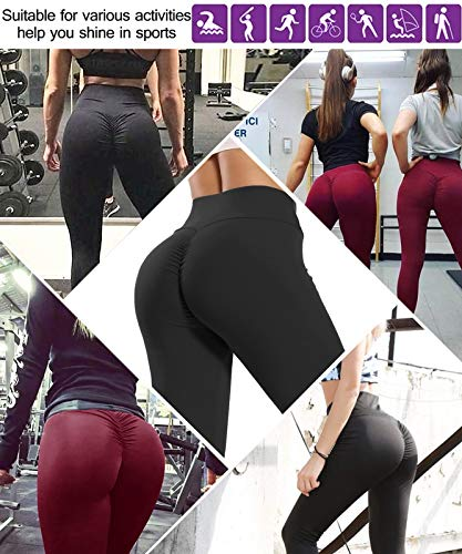 High Waisted Leggings for Women Butt Lift Scrunch Ruched Workout Yoga Pants Seamless Booty Lifting Tummy Control Tights Black