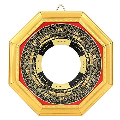Atyhao Bagua Espejo ornamental, chino tradicional Feng Shui Bagua espejo convexo/concavo Bagua espejo con banda de oro Wealth Protection Ornament