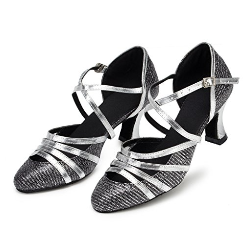 Synthetic Grey Morden Ballroom Professional Toe Material Wedding Round Dance Party Womens Sparkle Shoes Tango CRC Stylish CqwZYfc