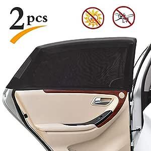 Uarter Universal Car Rear Side Window Baby Kid Pet Breathable Sun Shade Mesh Backseat (2 Pcs) Fits Most Cars/SUVs