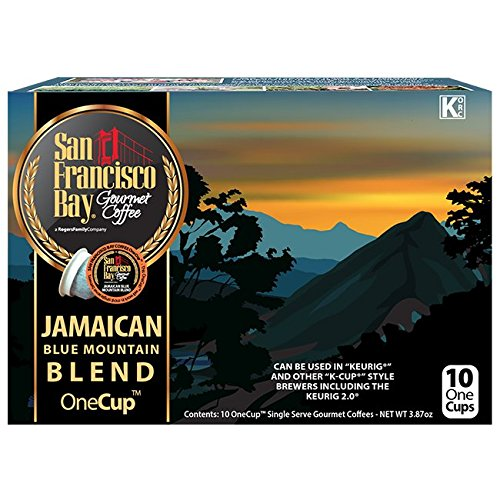 San Francisco Bay OneCup, Jamaican Blue Mountain Blend, 10 Count- Single Serve Coffee, Compatible with Keurig K-cup Brewers Blue Mountain Sweet Coffee