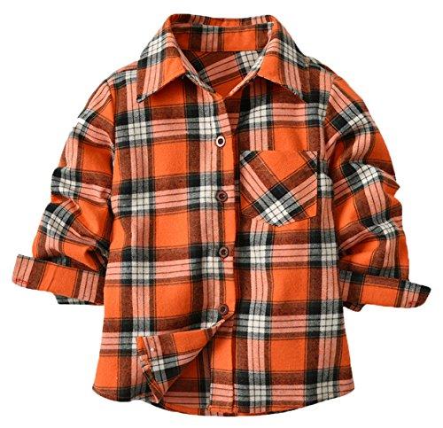 5d2fa5d7a Boys' Shirt, Plaid Button Down Long Sleeve Shirt Tops for Toddler & Little  Boys