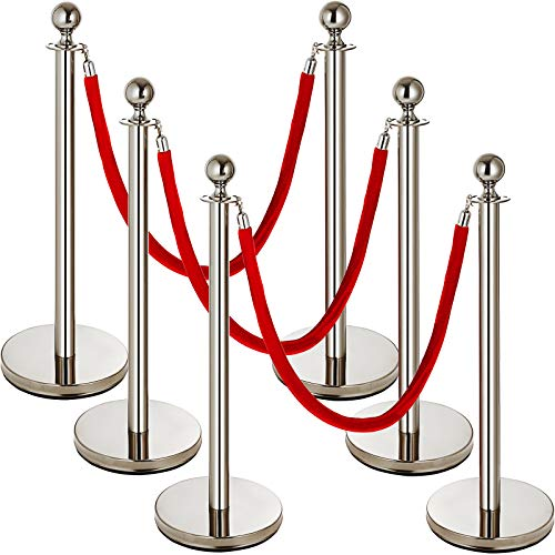 (Mophorn 6 PCS Stainless Steel Stanchion Post Queue Red Rope Retractable 38In Silver Crowd Control Queue Line Barriers (Silver-Red Rope))