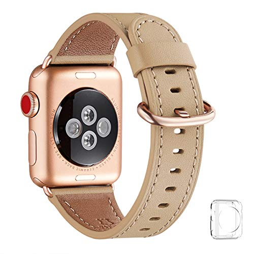 WFEAGL Compatible iWatch Band 40mm 38mm, Top Grain Leather Band with Gold Adapter (The Same as Series 4/3 with Gold Aluminum Case in Color) for iWatch Series 4/3/2/1 (Camel Band+Rosegold Adapter)