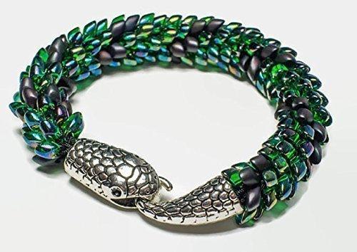 [Gifts for her, Handmade bracelet, forest dark green reptile snake braided serpentine jewelry scales] (Custom Snake Eyes Costumes)