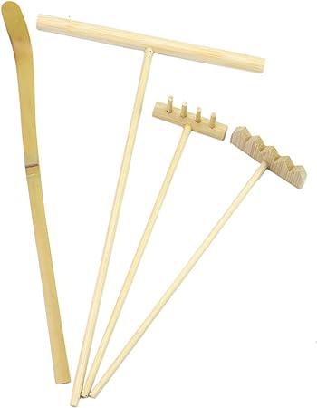 Monrocco Juego de 4 Herramientas de rastrillo de jardín Zen, rastrillos de jardín, Juego de bolígrafos de Dibujo con Empuje de Arena.: Amazon.es: Hogar