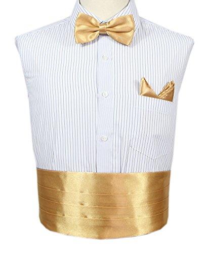 Jaifei Men´s Cummerbund Set- Deluxe Satin Bow Tie+ Handkerchief+ Cummerbund For Prom, Wedding, Graduation (Satin Silk Cummerbund)