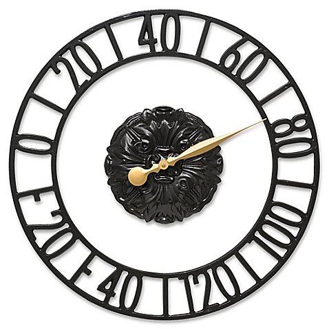 Whitehall Products Cambridge Floating Ring Outdoor Wall Thermometer in Black
