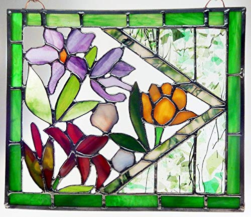 Stained Glass Orchid, Lily and Tulip Panel