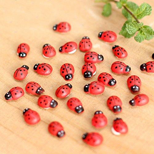 Sunshay 100Pcs Wooden Ladybug Sponge Mini Fridge Decoration