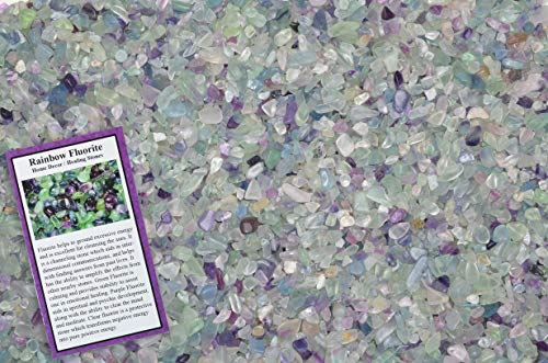 Fantasia Materials: 1 lb of Tumbled Rainbow Fluorite Chip Size Stones w/ID Card - Polished Rocks for Fountains, Crafts, Vases, Flower Pots, Art Projects, Jewelry Making, Reiki and More!