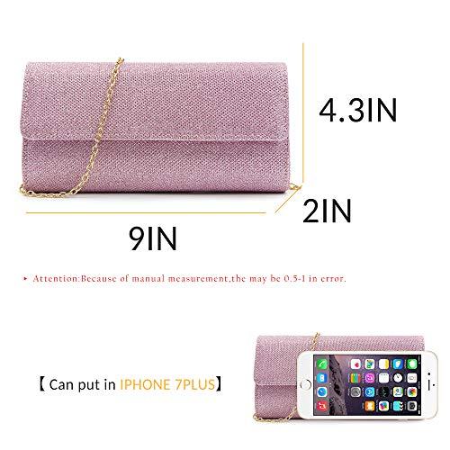 Elegant Purse Sequins Bag Evening Chain Clutches Women Pink Clutch Milisente aq1FnAUw