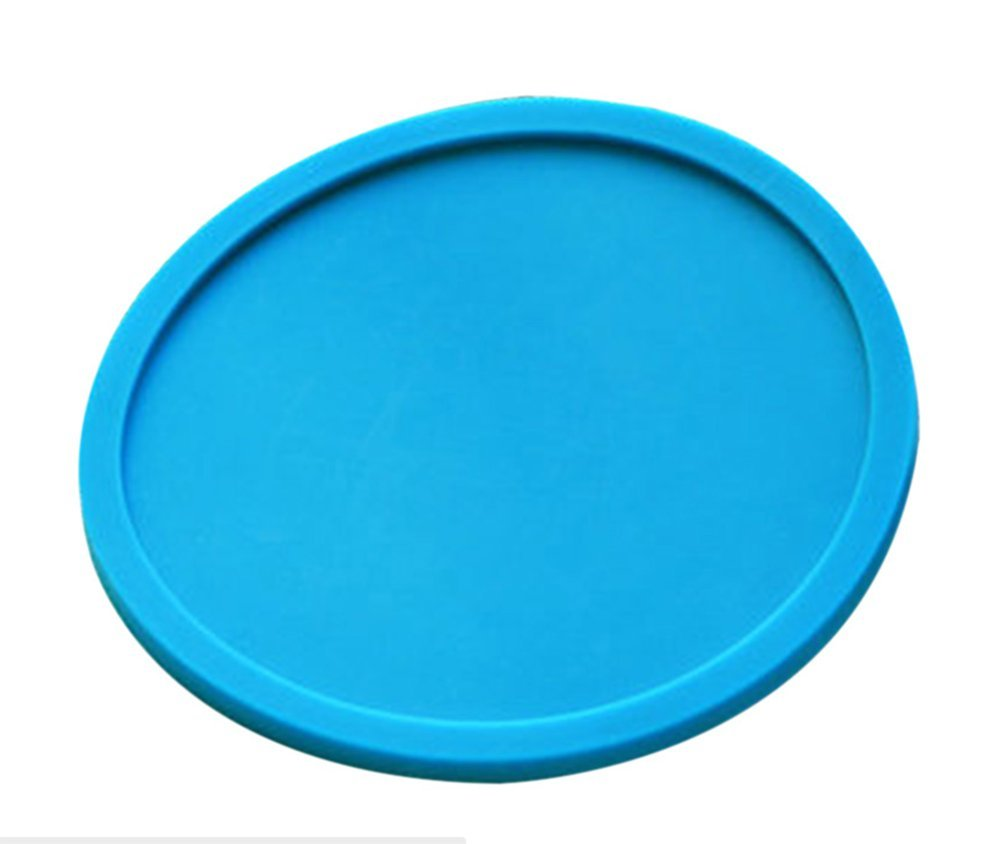 Hosaire Silicone Drink Coasters Great Grip, Easy To Clean, Protects Your Furniture - Spill Tray To Catch Condensation - For Coffee Cup, Wine Glass, Beer Bottle And All Other Beverages Blue 4 inch by Hosaire (Image #1)