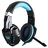 Megadream 3.5mm Over Ear Gaming Headphone with Microphone & Blue LED Light for Playstation 4, Tablet, Smartphone iPhone 7/7 Plus/6S/6S Plus/6 Samsung Galaxy Note 6 S7 Edge S6 Edge S5 HTC -Black+Blue