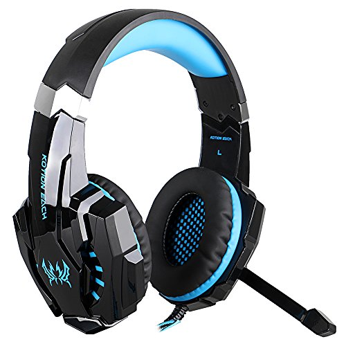 Megadream 3.5mm Over Ear Gaming Headphone with Microphone & Volume Control & Red LED Light Headset for Sony Playstation 4 PS4, PS4 Slim, PS4 Pro, Xbox One, S, X, Nintendo 3DS, PSP - Black+Blue