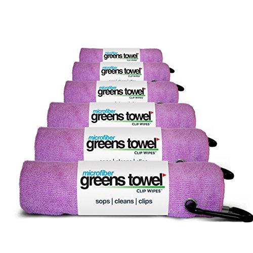 Greens Towel (6 Pack, Awareness Pink, Microfiber 16 X 16 Carabiner Clip. The Convenient Golf Towel