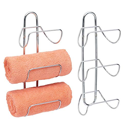 mDesign Modern Decorative Metal 3-Level Wall Mount Towel Rack Holder and Organizer for Storage of Bathroom Towels, Washcloths, Hand Towels - 2 Pack - Chrome