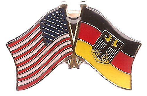 Pack of 3 Germany Eagle & US Crossed Double Flag Lapel Pins, German Eagle & American Friendship Pin Badge