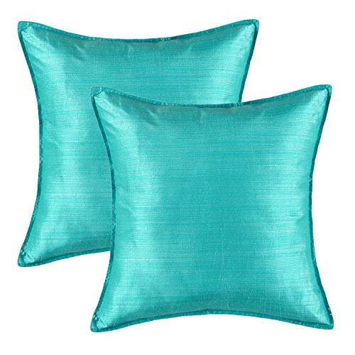 CaliTime Pack of 2 Silky Throw Pillow Covers Cases for Couch Sofa Bed Modern Light Weight Dyed Striped 18 X 18 Inches Turquoise