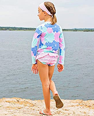 RuffleButts Baby/Toddler Girls Rash Guard 2-Piece Swimsuit Set - Long Sleeve Bikini with UPF 50+ Sun Protection